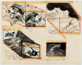 Animation Art:Production Drawing, Bill Peet Ben and Me Animation Storyboard Drawings (Disney,1953)....