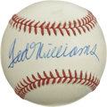 Autographs:Baseballs, Ted Williams Single Signed Baseball. A slightly toned OAL (Brown)baseball carries the elegant Hall of Fame autograph of th...
