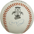 Autographs:Baseballs, Cal Ripken Jr. Single Signed Baseball. The OAL (Budig)commemorative baseball is enhanced by the signature of legendaryOrio...