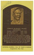 Autographs:Sports Cards, Satchel Paige Signed Hall of Fame Plaque Yellow. A legendarypitcher among major league hitters, among other things he acco...