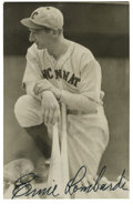 Autographs:Post Cards, Ernie Lombardi Signed Postcard. An absolute marvel with the bat, catcher Ernie Lombardi holds the distinction of being the ...