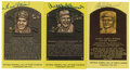 Autographs:Post Cards, Signed Gold Hall of Fame Plaques Lot of 3. Here we present a collection of three signed gold Hall of Fame plaques, issued by...