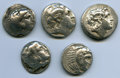 Ancients:Ancient Lots  , Ancients: ANCIENT LOTS. Greek. Macedonian and Thracian Kingdoms.Ca. 336-281 BC. Lot of five (5) AR tetradrachms. Fine.... (Total: 5coins)