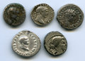 Ancients:Ancient Lots , Ancients: ANCIENT LOTS. Roman Republic and Imperial. Ca. 46 BC-AD211. Lot of five (5) AR denarii. About Fine-VF.... (Total: 5 coins)