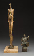 Sculpture, Pablo Curatella Manes (Argentine, 1891-1962). Walking Figure and Man with Guitar (two works). Bronze, each. 14 inche... (Total: 2 Items)