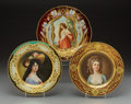 Ceramics & Porcelain, Continental:Other , Three Royal Vienna-Style Painted, Enameled, and Gilt PorcelainPlates, circa 1900. Marks: (shield in underglaze blu...