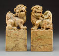 Other, Two Large Chinese Carved Soapstone Figural Seals, 20th century. 7-1/2 inches (19.1 cm) (each). ... (Total: 2 Items)