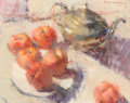 Fine Art - Painting, American, Bye Bitney (American, b. 1960). Silver Pot with Peaches. Oilon canvas. 11 x 14 inches (27.9 x 35.6 cm). Signed upper ri...