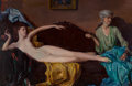 Fine Art - Painting, American, Wayman Adams (American, 1883-1959). Reclining Nude. Oil oncanvas. 52 x 80 inches (132.1 x 203.2 cm). Signed lower left:...
