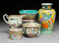 Asian:China Trade, Five Various Chinese and Japanese Export Enameled Porcelain Wares,20th century . Marks: (various). 9-3/4 x 5-1/2 inches (24...(Total: 5 Items)