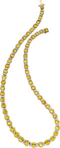 Estate Jewelry:Necklaces, Yellow Sapphire, Diamond, Platinum, Gold Necklace, Oscar Heyman Bros.. ...