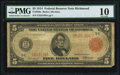 Large Size:Federal Reserve Notes, Fr. 836a $5 1914 Red Seal Federal Reserve Note PMG Very Good 10.. ...