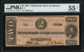 Confederate Notes:1862 Issues, T54 $2 1862 PF-5 Cr. 394B PMG About Uncirculated 55 Net.. ...