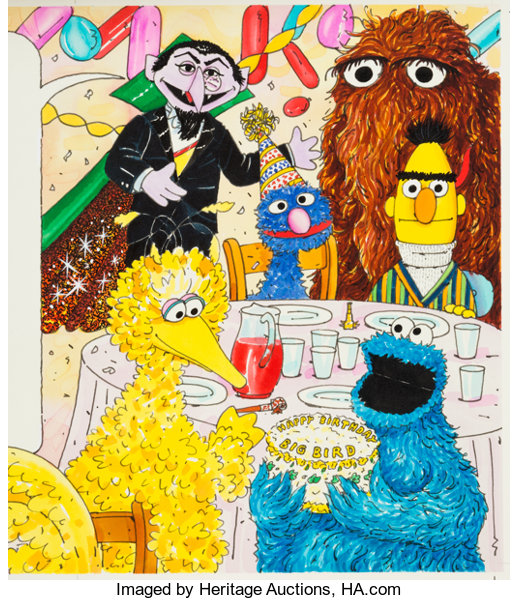 Sesame Street Magazine Big Bird S Birthday Illustration By