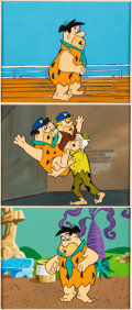 Animation Art:Production Cel, The Flintstone Comedy Hour Fred, Barney and Bamm-BammProduction Cel and Master Background Setups Group of 3 (Hanna-Ba...(Total: 3 )