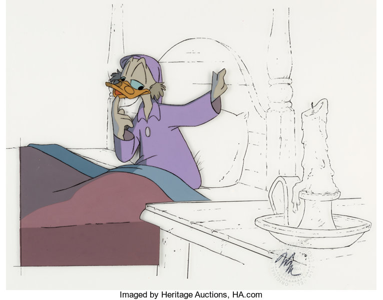 Mickeys Christmas Carol Scrooge Mcduck Production Cel With Line