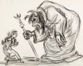 Animation Art:Concept Art, The Black Cauldron Horned King and Princess Eilonwy ConceptDrawing by Andreas Deja (Walt Disney, 1985)....