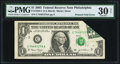 Error Notes:Foldovers, Printed Fold Error Fr. 1928-C $1 2003 Federal Reserve Note. PMGVery Fine 30 Net.. ...