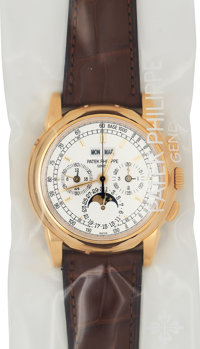 Patek Philippe, Ref. 5970J-001, Unused Single Sealed, Gold Chronograph With Perpetual Calendar, Moon Phases, Tachometer...