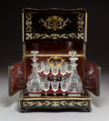 Decorative Accessories, A French Napoleon III Brass and Mother-of-Pearl-Inlaid Ebonized Mahogany Cavé à Liqueur, circa 1860. 11 x 13-1/2 x 10-1/4 in...