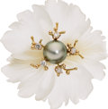 Estate Jewelry:Brooches - Pins, South Sea Cultured Pearl, Diamond, Rock Crystal Quartz, Gold Pendant-Brooch, Russell Trusso. ...