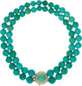 Estate Jewelry:Necklaces, Diamond, Turquoise, Gold Necklace. ...