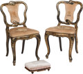 Furniture , A Pair of Victorian Lacquered Side Chairs with Needlepoint Upholstery with Associated Foot Stool, 19th century. 32-1/2 x 17 ... (Total: 3 Items)