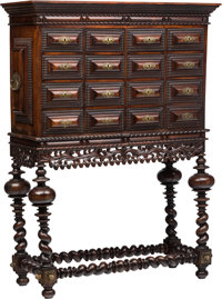 A Portuguese Baroque-Style Carved Walnut Cabinet on Stand, 19th century 63 x 47-1/2 x 19-1/2 inches (160.0 x 120.7