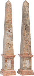 Decorative Arts, Continental:Other , A Pair of Italian Grand Tour-Style Marble Obelisks, 20th century. 38 x 6-1/2 x 6-1/2 inches (96.5 x 16.5 x 16.5 cm) (each, a... (Total: 2 Items)