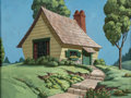 Animation Art:Painted cel background, Inferior Decorator Donald Duck's House Production BackgroundPainting (Walt Disney, 1948)....