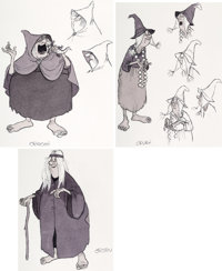 The Black Cauldron Witches of Morva Concept Drawings Group of 3 by Milt Kahl (Walt Disney, 1985).... (Total: 3 Items)