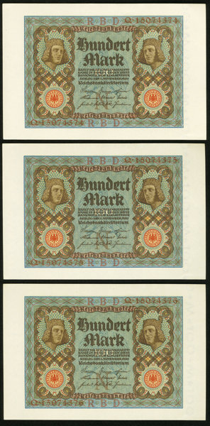 GERMANY REICHSBANKNOTE 100 MARK 1920//sold as each
