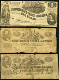 Confederate Notes:1862 Issues, T42 $2 1862;. T43 $2 1862;. T44 $1 1862.. Very Good or better.. ... (Total: 3 notes)