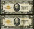Small Size:Gold Certificates, Fr. 2402 $20 1928 Gold Certificates. Two Examples. Very Fine.. ... (Total: 2 notes)
