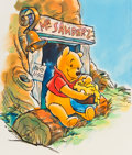 Animation Art:Production Drawing, Winnie the Pooh and his Honey Pot Color Illustration (Walt Disney, c. 1990s)....