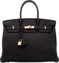 """Luxury Accessories:Bags, Hermès 35cm Black Togo Leather Birkin Bag with Gold Hardware. T, 2015. Condition: 1. 14"""" Width x 10"""" Height x 7"""" D..."""