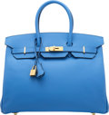 "Luxury Accessories:Bags, Hermès 35cm Blue Paradis Epsom Leather Birkin Bag with Gold Hardware. R Square, 2014. Condition: 1. 14"" Width x 10..."