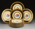 Ceramics & Porcelain, A Set of Twelve Royal Bavarian Hutschenreuther Selb Transfer-Printed and Gold Encrusted Porcelain Plates, Selb, Germany, 20t... (Total: 12 Items)