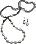 Estate Jewelry:Suites, Baroque Cultured Pearl, Hematite, White Gold Jewelry Suite. ...