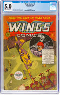 Golden Age (1938-1955):War, Wings Comics #2 (Fiction House, 1940) CGC VG/FN 5.0 Cream tooff-white pages....