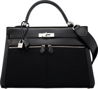 Hermès 35cm Black Calf Box Leather & Toile Kelly Lakis Bag with Palladium Hardware K Square, 2007