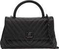 """Luxury Accessories:Bags, Chanel Black Chevron Quilted Caviar Leather Top Handle Flap Bag with PVD Hardware. Condition: 1 . 10"""" Width x 7"""" Heigh..."""