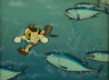 Animation Art:Production Cel, Pinocchio Production Cel Courvoisier Setup (Walt Disney, 1940).... (Total: 2 )