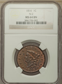 1816 1C N-2, R.1, MS64 Brown NGC. NGC Census: (14/1). PCGS Population: (3/0). MS64. ...(PCGS# 36526)