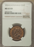 British Honduras:British Colony, British Honduras: British Colony. George V Cent 1924 MS63 Red and Brown NGC,. ...