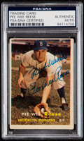 Autographs:Sports Cards, Signed 1957 Topps Pee Wee Reese #30 PSA/DNA Authentic. ...