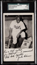 Baseball Cards:Singles (1940-1949), 1948 Old Gold Cigarettes Jackie Robinson (In Dugout) SGC 35 Good+ 2.5....