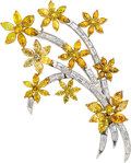 Estate Jewelry:Brooches - Pins, Colored Diamond, Diamond, Gold Brooch. ...