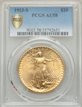 Saint-Gaudens Double Eagles: , 1913-S $20 AU58 PCGS Secure. PCGS Population: (169/1712 and 0/36+). NGC Census: (117/996 and 0/5+). CDN: $1,600 Whsle. Bid ...