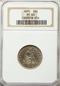 Proof Seated Quarters: , 1875 25C PR63 NGC. NGC Census: (26/70). PCGS Population: (34/51). PR63. Mintage 700. ...